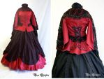 Red and Black crinoline Gown by Stahlrose