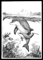 Tursiops with calf by art4oceans