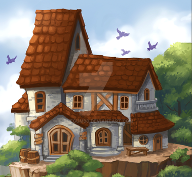 house in sky by THEGUM90