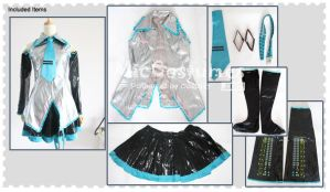Vocaloid Hatsune Miku Leather Cosplay Costume by miccostumes