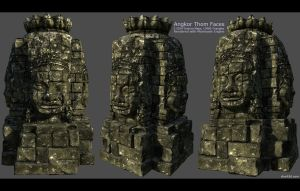 Angkor Thom Face Statue 1 by charliedeft