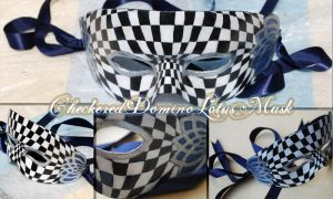 Checkered Domino Lotus Mask by StephanieReeves