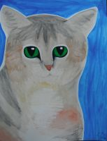Tabby Cat Watercolor by Oceanblue-Art