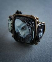 Blue-faced Japan Zombie. Ring. by KiraLisicka