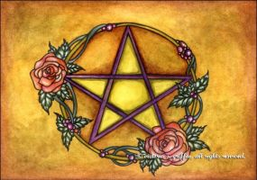 Rose Pentacle by victoriagriffinart