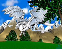 Collab: White beast of the sky by Adreos