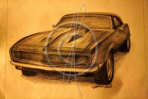 1969 Camaro Drawing by BuckleWinner