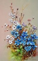 Wildflowers, silk ribbon embroidery. by TetianaKorobeinyk