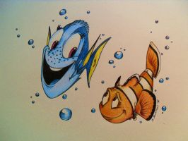 Dory and Marlin by BenjiLion09