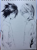 L and Light - Ink by Orenji--kun