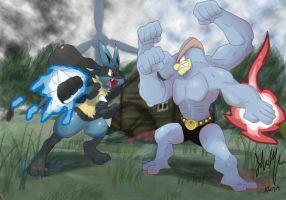 Pokken Tournament Lucario vs Machamp by SonicX908
