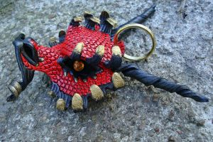Leather Dragon Keychain...Red by merimask