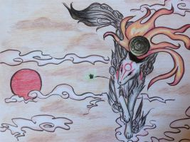 Okami: Amaterasu and Issun by Nesprithe