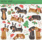 /// Black Tan Christmas Wieners - Clip Art Dog /// by guava