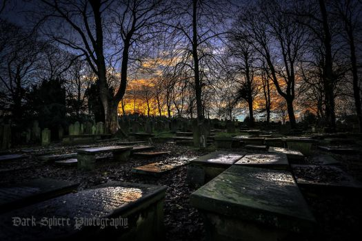 Cemetery at dusk. by jasonthe5150