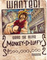 Luffy Wanted Poster by gambitgurlisis