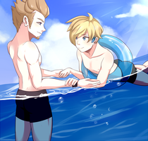 Male Ace and Swimmer by HiroPaws