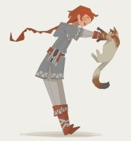 Braidy and Cat by almond-goddess