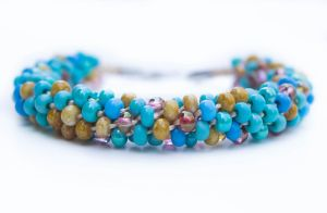 Beaded Kumihimo Bracelet in Blue, Rose, Tan Mix by QuietMischief