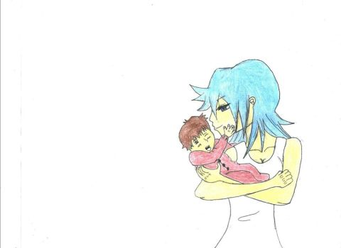 A Mother and son Colored by raytion