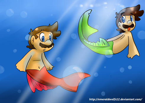 Merman Luigi and Mario by MariobrosYaoiFan12