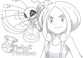 Viola and Vivillon of Santalune City by TheWhiteScatterbug