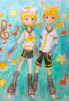 Kagamine Rin and Len by Jellieviefish