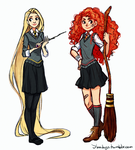 Merida and Rapunzel: Hogwarts AU by YukiHyo