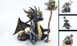 black and gold wizard dragon - for sale by claymeeples