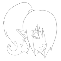 Elf girl face line art by xXPanicButtonXx
