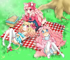 Meeting in the garden (Pinku Friends Contest) by LuciaTan