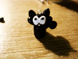 polymer clay mini black cat by trollwaffle