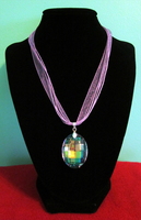 Crystal Ribbon Necklace by BloodRed-Orchid