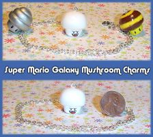 Mario Galaxy Mushroom Charms by YellerCrakka