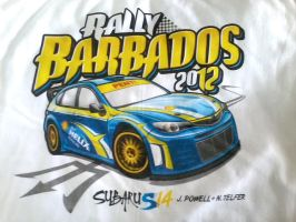 Rally Barbados 2012 T-shirt Print by BreadX