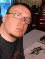 ME AT MY DRAWING TABLE by twistedmentality