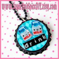 Drink Milk Bottle Cap Necklace by SugarAndSpiceDIY