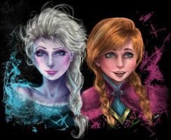 Anna and Elsa Realism ~ by Charkiin