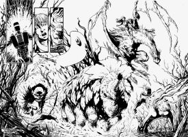 ROM vs. THE HERCULOIDS - double page spread - inks by RONJOSEPH-ARTIST