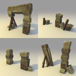 Low poly Broken Stone Gate (MORE variation) by lithium-sound