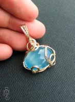 Ocean's Tears Pendant- Chalcedony + Gold PendantB by pixie-trick