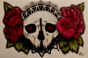 Skull and roses tattoo design by CatLaCroix