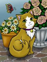 Cute Kitty and Flowers by Lesh4537