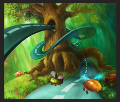 racing in the woods by imlikeabird