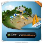 Isometric icons People - Beach by templay-team