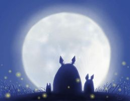Totoro with Full Moon by Twinky-Dink