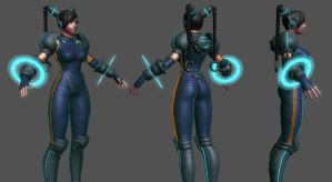 Cyber Chun-Li Wip 7 by HazardousArts