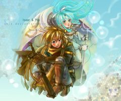 Isaac and Mia - GoldenSun by qkie