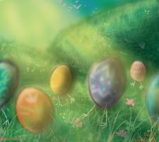 6 Eggs Walking by HezuNeutral
