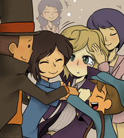 Professor Layton: Group Hug by Usagiko-JOvi